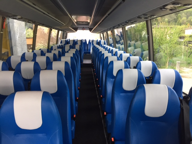 blue and white leather coach seating