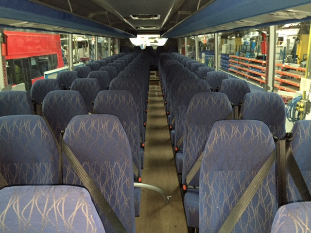 patterned silver and blue coach seating