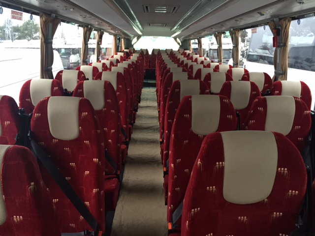 patterned red coach seating