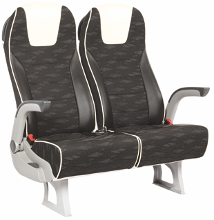 2 black patterned brusa seats with white trim
