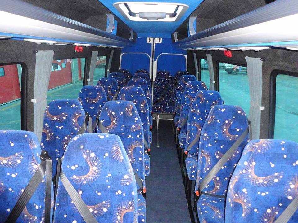 blue patterned mini bus seating