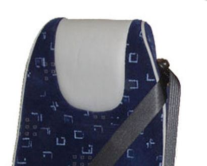 blue patterned buckingham seat with grey trim