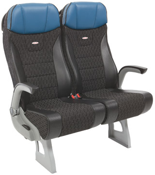2 black patterned brusa seats with blue headrests