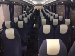 blue and white textured coach seating