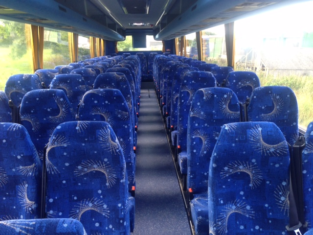 patterned blue coach seating