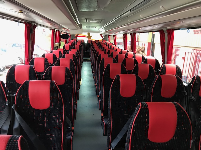 black and red patterned coach seating