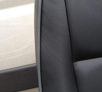 black leather seating closeup
