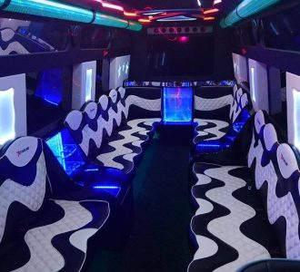black and white wavy party bus seating