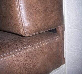 brown leather seat close up