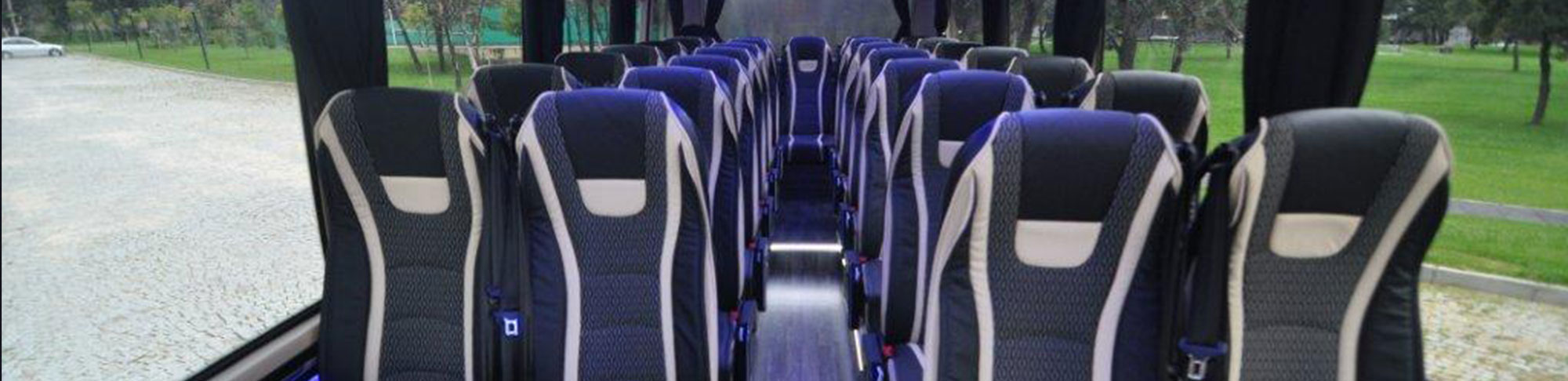 modern grey and white coach bus seating banner