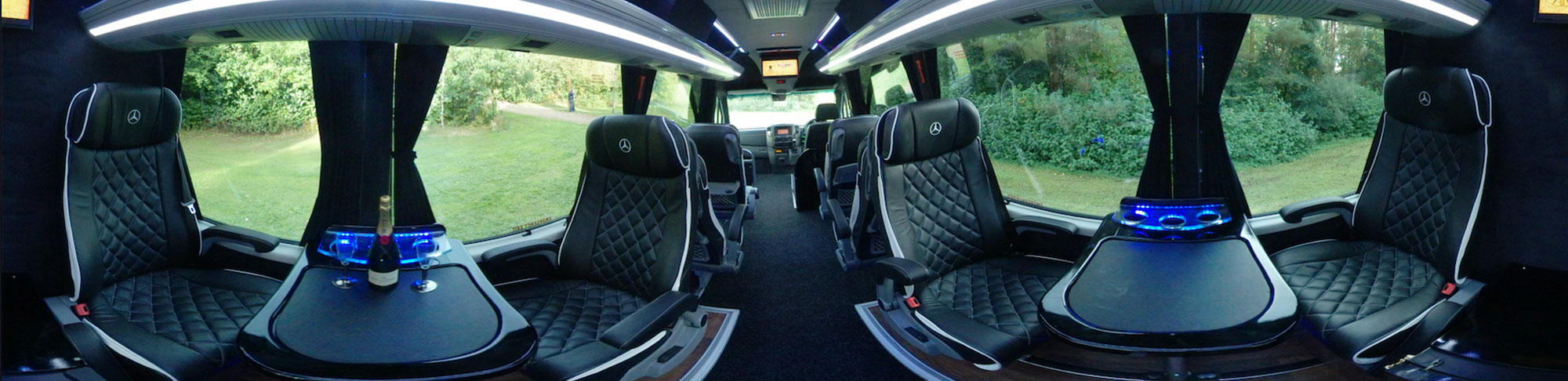 panoramic photograph of interior luxury van conversion