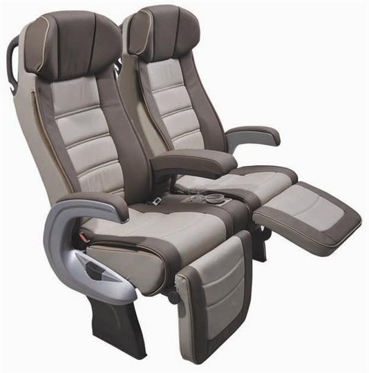 row of 2 reclining leather beige brusa seats