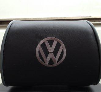 black leather headrest vw volkswagen logo