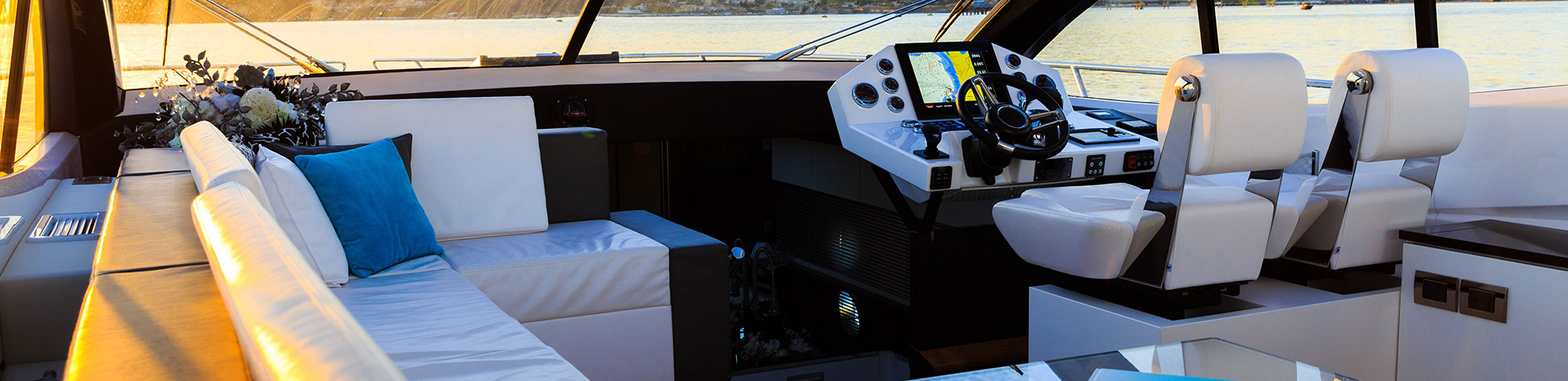 white leather interior of luxury yacht boat
