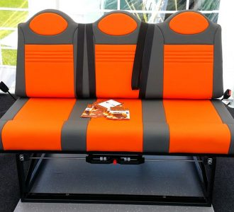 grey orange trim row 3 seats