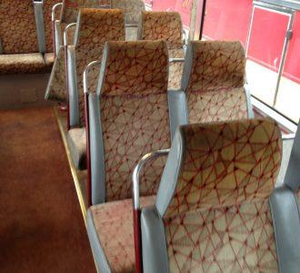 brown polygon pattern bus seating