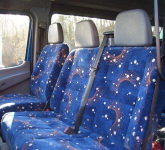 blue and orange speckled van seats