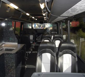 blue and silver leather luxury coach seating