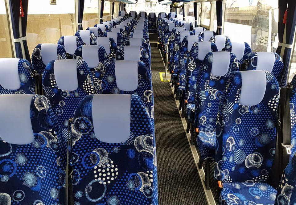blue tennis ball pattern coach seating