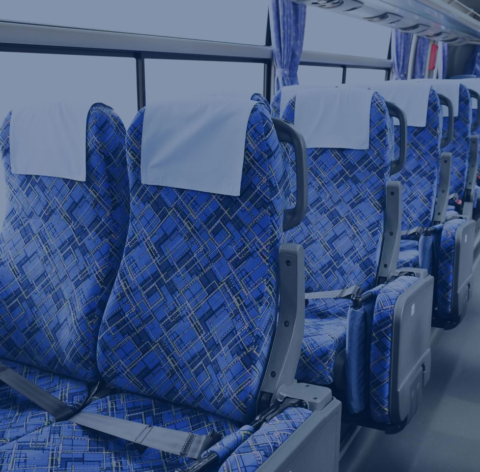 blue patterned bus seating blue overlay